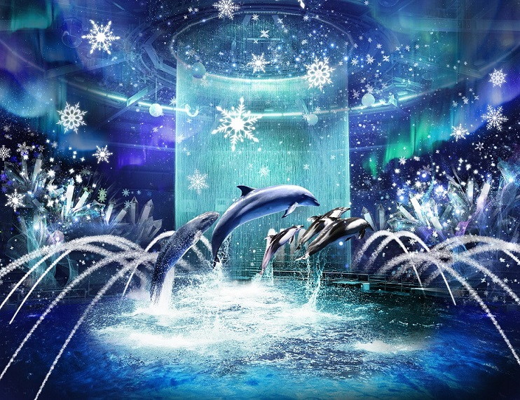 "We will hold a dolphin performance (night ver.) ""BRIGHT CRYSTAL"" where dolphins dance in a beautiful world of digital art snow and ice."
